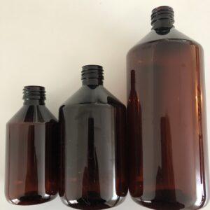 Bruna plastflaskor 250, 500, 1000 ml.